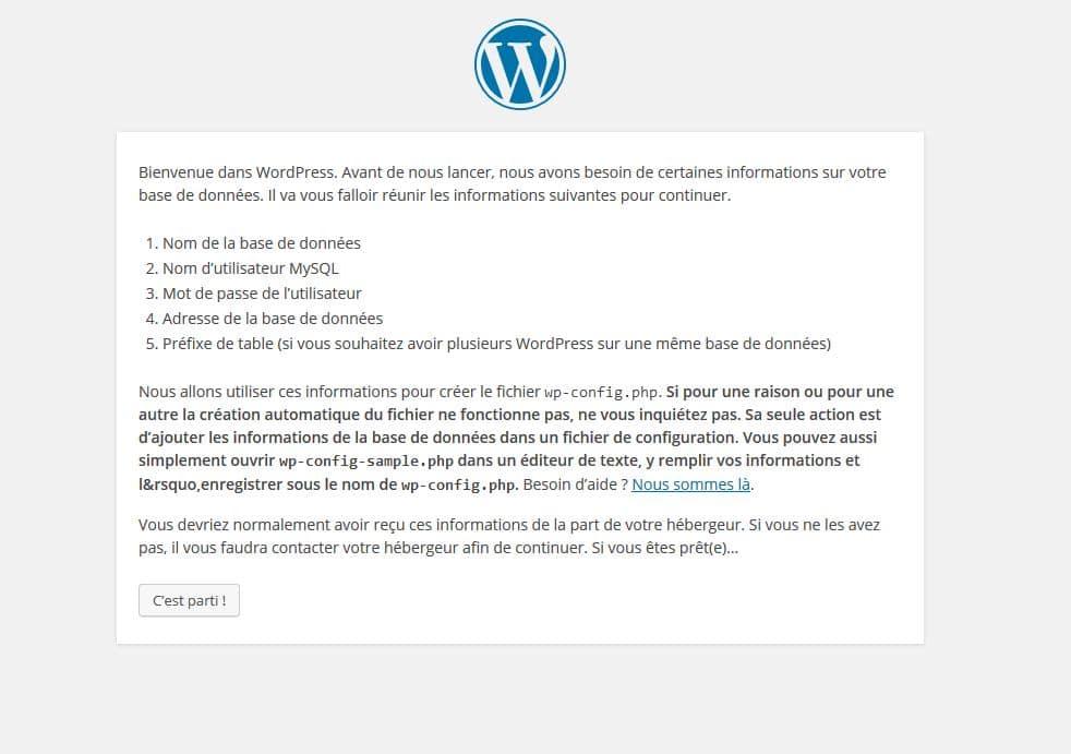 Configuration de WordPress via le navigateur