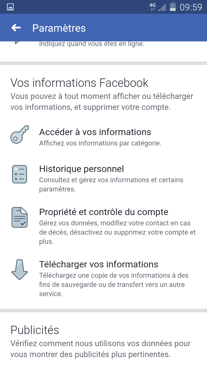 vos informations Facebook