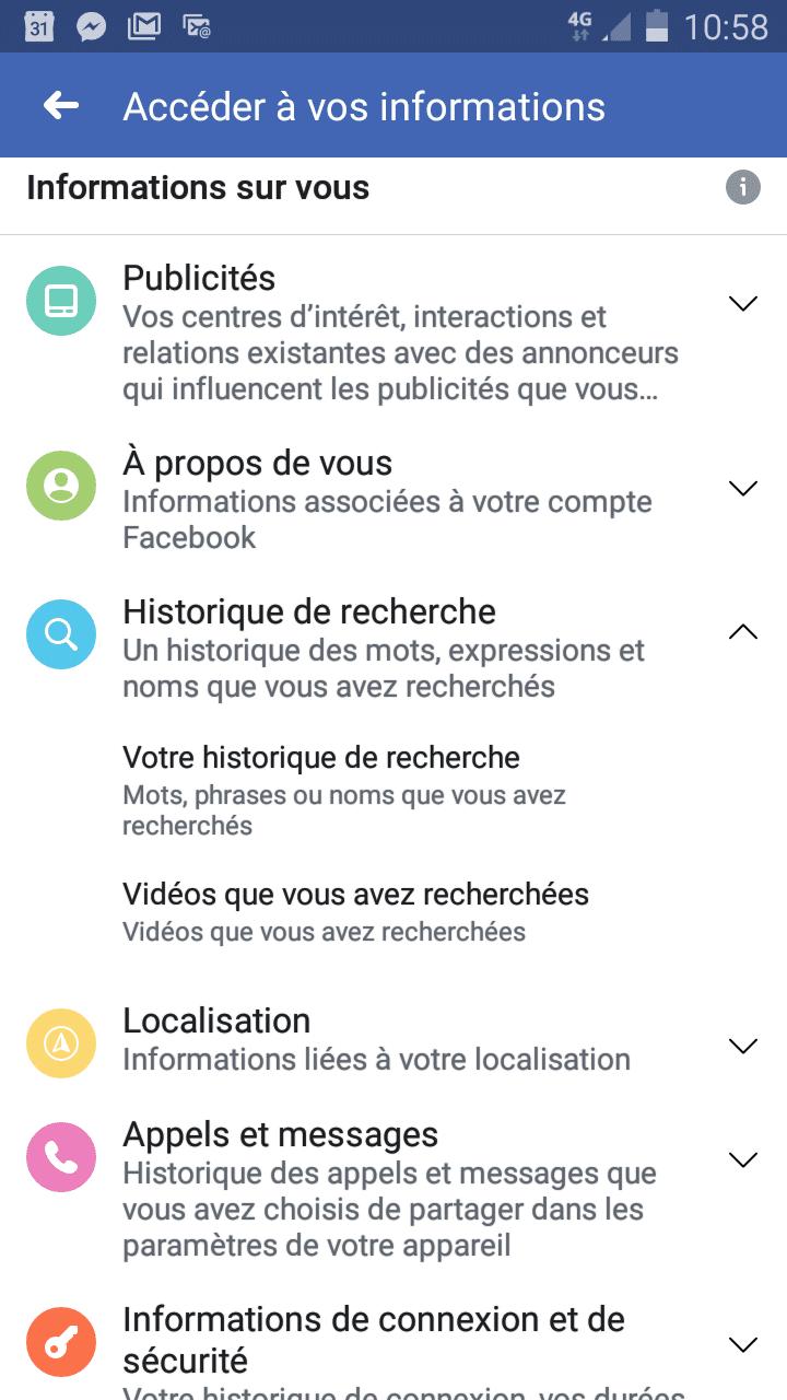 votre historique de recherche facebook