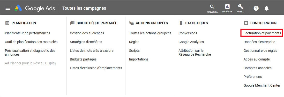 menu google Adsfacturation